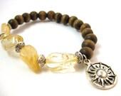 Citrine Bracelet | Charm Bracelet | Silver Sun Charm | Elastic Bracelet | Healing Crystal Bracelet | Natural Wood