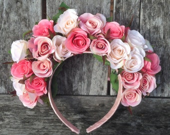 REDUCED - Pink Rose Flower Crown