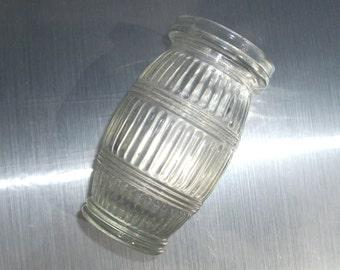 Vintage paste jar. Barrel shape paste jar. 1930s 1940s big glass paste jar. Stripe pattern glass jar. Large glass jar. Vintage kitchen decor