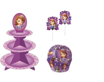 Sofia the First Cupcake Stand with Sofia Baking Cups & Cupcake Picks