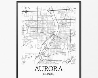 Aurora Map Art Print, Aurora Poster Map of Aurora Decor, Aurora City Map Art, Aurora Gift, Aurora Illinois Art Poster