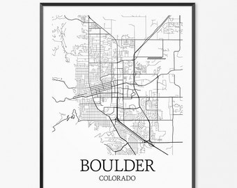 Boulder Map Art Print, Boulder Poster Map of Boulder Decor, Boulder City Map Art, Boulder Gift, Boulder Colorado Art Poster