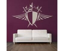 Knight Heraldic Sword and Shield Design Decor Bedroom Decor Decal Living Room Stylish Decoration Home Improvement  tr1652