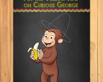 pin the hat on curious george chalkboard party game curious george printable curious george - Curious George Halloween Games