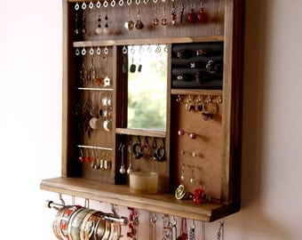 Jewelry display mirror. earrings display. necklace holder. WALNUT earring holder with shelf. wall mounted jewelry storage. earrings storage.