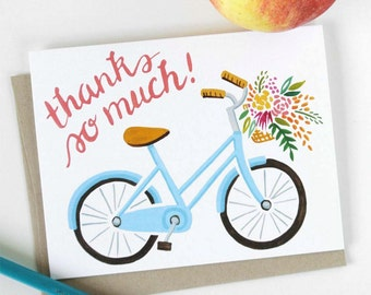 Thank You Note Bicycle Art A2 Notecard Blank Notecard Snail Mail Handmade Thank You Card Thank You Gift Greeting Card