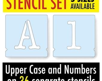 Typewriter Stencil Alphabet Letters CAPITALS & NUMBERS 5 Sizes 36 Separate Letter Stencils for Signs, Walls Furniture Painting Projects