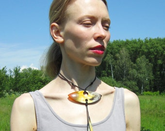 Tribal African Necklace of Buffalo Horn, african jewelry, tribal jewelry, buffalo horn jewelry, african bib choker necklace