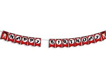 Karate / Ninja Themed Happy Birthday Banner, Karate / Ninja Birthday Party