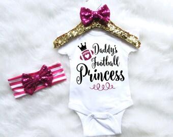 Baby Girl Football Season Outfit. Baby Football Bodysuit. Baby Girl Football Clothing. Baby Clothes. Baby Apparel. Baby Bodysuit. Headband
