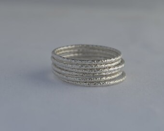 Set of 6 sterling silver sparkle faceted stacking rings- Silver stacking rings