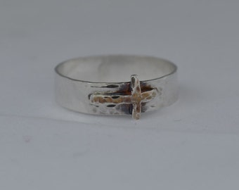 Sterling silver Cross band - Christian thick band ring
