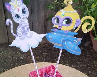 8.5 inch Shimmer and Shine pets centerpiece cut outs, birthday party
