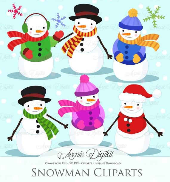 Christmas Snowman Clipart Scrapbook printables, holiday ...