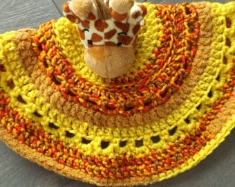 Doudou fun and colorful crocheted with plush-giraffe