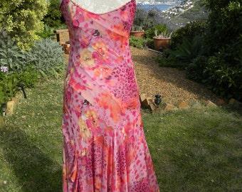 Long pink vintage dress, pink evening dress, maxi dress, floral dress, summer dress, winter dress, garden party, summer,  size uk 10 usa 8