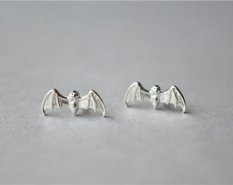 Bat 925 sterling silver stud earrings, special designed pair (D302)