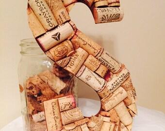 Wine Cork Letter S; Wine Cork Craft; Wedding shower gift;Wine Cork Decoration; Wedding Decor;Home Decor