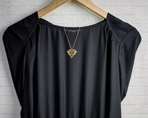 Diamond shaped necklace, diamond pendant, geometric necklace, gold diamond necklace, gift under 50, long necklace, unique necklace, 14K.