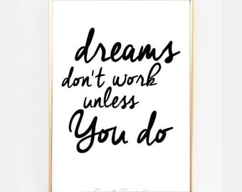 "Printable Art Inspirational Print ""Dreams"" Typography Quote Home Decor Scandinavian Design Motivational Poster Wall Art Gift Idea Quotes"
