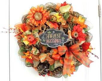 Thanksgiving Deco mesh Wreath READY TO SHIP Deco mesh Thanksgiving wreath Fall Deco mesh Wreath Deco mesh Fall Wreath Fall Harvest wreath