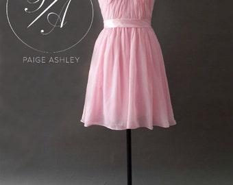 Short Pink Sweetheart Chiffon Bridesmaid Dress Homecoming Prom Dress