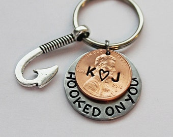 HOOKED ON YOU keychain. Personalized With Hook Charm.  Still hooked.  Penny Keychain.  Personalized.  Couples Keychain.