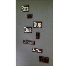 Rub A Dub Dub 4 Monkeys In The Tub ~ Custom number and color ~ Bathroom Decor