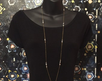 Blue Pearls on Gold Chain