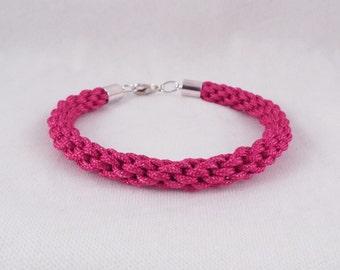 Lindsay (Pink cord kumihimo bracelet w/ silver plate findings)