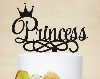 Princess Birthday Cake Topper,Crown Cake Topper,Personalized Cake Topper for Baby or Little Girl Birthday,Party Cake Topper A043