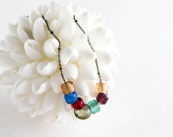 Glass Bead Necklace Rustic Colorful Long Layering Boho Bohemian Jewelry Gift for Her Under 20 Under 30