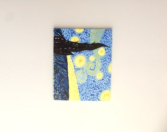 Starry Night Painting, Starry Night art, Night Art, Night Landscape, Abstract Art, Abstract Painting, Wall art, wall Decor, housewarming