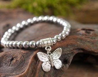 Hematite bracelet, butterfly bracelet, gemstone bracelet, stone bracelet, silver bracelet, beaded bracelet, nature bracelet