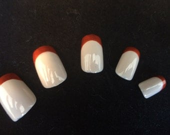 Burnt Orange and Nude French Tip False Nail Set