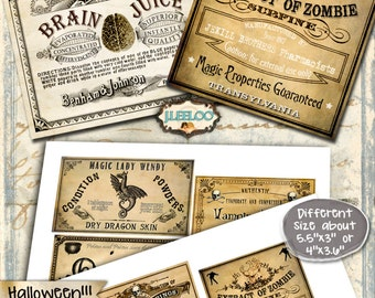 APOTHECARY - printable poison bottle jar label gift tag Halloween instant download scary invitation ephemera - digital collage sheet - tl174