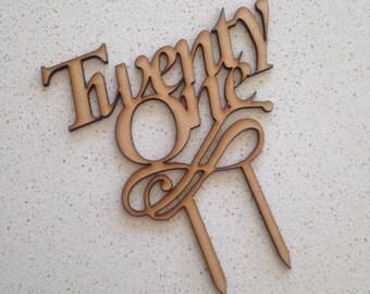 Twenty One Wooden Cake Topper, Twenty First Birthday Cake Topper (Australia)