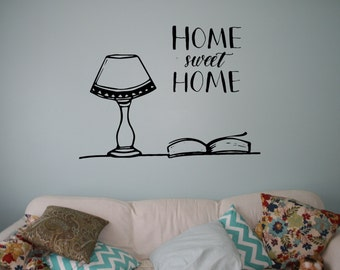 Home Sweet Home Wall Decal Table Lamp Vinyl Sticker Wall Quote Home Interior Wall Decor Mural Housewares 12(hsh)