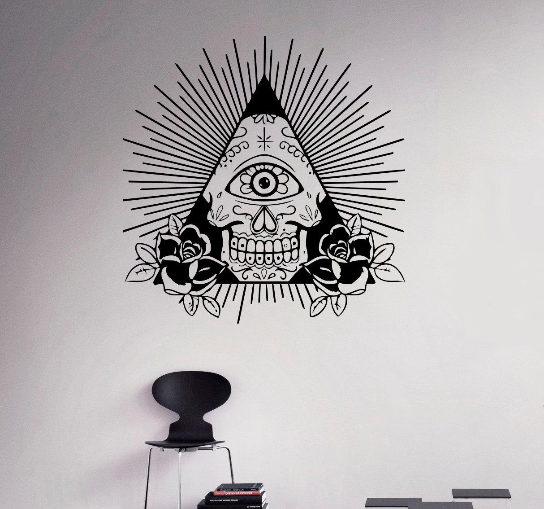 Illuminati symbol wall decal all seeing eye vinyl sticker zoom amipublicfo Choice Image