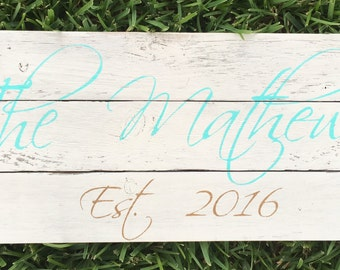 Personalized Name/Est Date Wood Sign