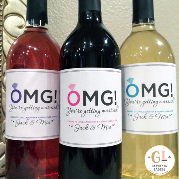Wedding Engagement Wine Label Pdf: OMG You're Getting Married Label Engagement Party Labels
