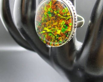 Mystic Fire Topaz Sterling Silver Ring, size 8.