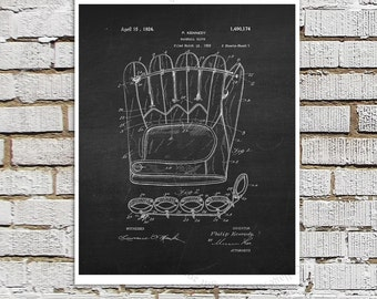 Baseball Glove print #4 black and White Wall Art, Baseball patent print, chalkboard Art, Gift for him, baseball gift Baseball sports decor