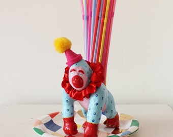 Hand Painted Circus Gorilla Planter, Desk Tidy