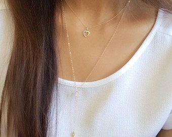 14k gold diamond floating heart necklace