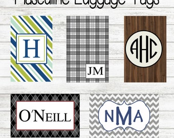 Masculine Luggage Tag - Personalized Bag Tag - Monogrammed Luggage Tag -  Buy 4, Get 1 Free
