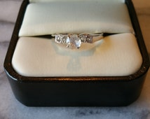 Vintage 18KT HGE ESPO White Gold Plated Bow Style Engagement Ring with Clear Rhinestones, Size 6 and 7 3/4