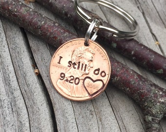 I Still Do Hand Stamped Heart Around Year Penny, Personalized Gift For Him, Her, Custom 1, 7 Year Anniversary Gift, Traditional Copper