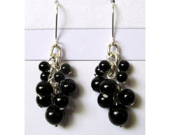"""Black onyx cluster earrings with sterling dipped modern french hook ear wires, 2"""" long"""