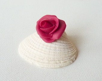 Maroon Rose Pin Hand Made Polymer Clay Small Rose Pin Brooch, Small Christmas Gift, Tiny Flower Gift, Minimalist Rose Jewelry, Small Flower